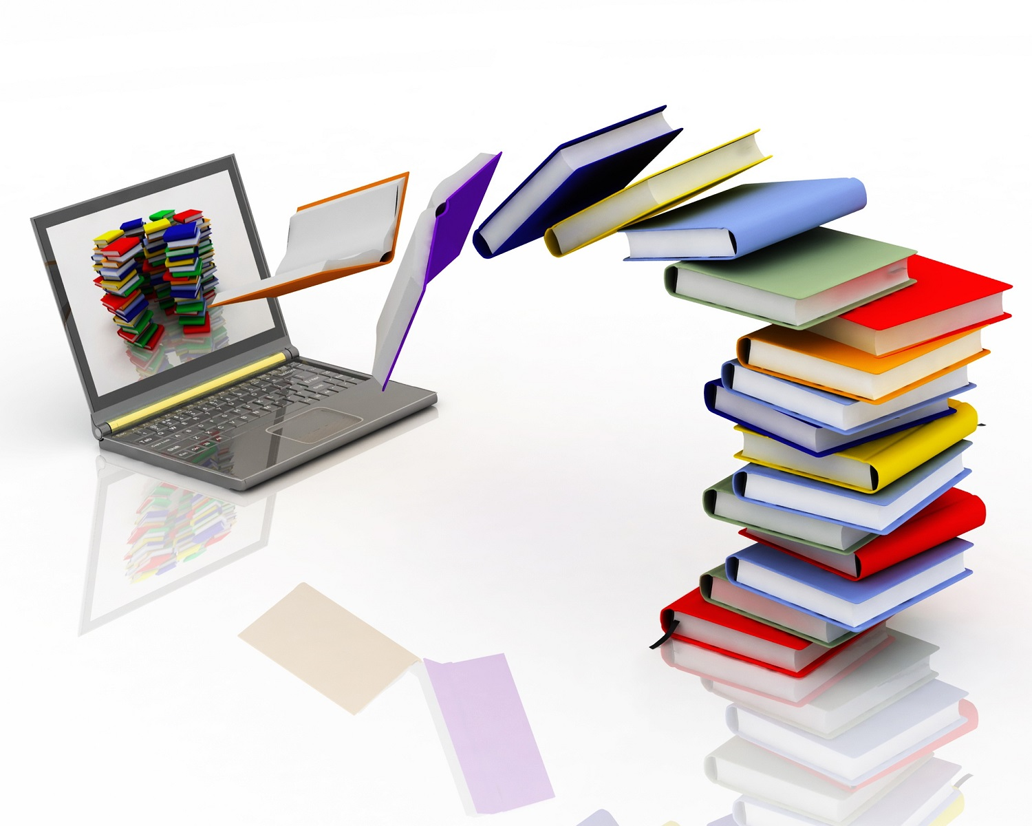 Show the transition of books to e-books, the demand of digital publishing is increasing with the modern times)